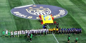 Players are introduced before the match at Legion Field Sunday. (Solomon Crenshaw Jr./Alabama NewsCenter)