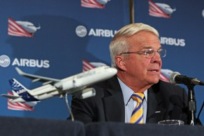 Allan McArtor, Airbus Group, Inc. Chairman and CEO, offers remarks during a press briefing Sunday, Sept. 13, 2015, in Mobile, Ala. (Mike Kittrell/Alabama NewsCenter)