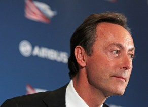 Fabrice Bregier, Airbus President and CEO, offers remarks during a press briefing Sunday, Sept. 13, 2015, in Mobile, Ala. (Mike Kittrell/Alabama NewsCenter)
