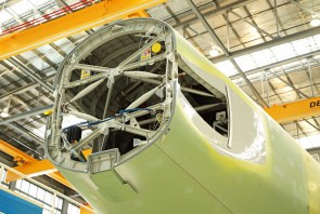 The final assembly hangar, where the actual assembly on the aircraft takes place before being delivered to the flight line for final testing and ultimately to the customer in the delivery center, is pictured during a media tour of the Airbus U.S. Manufacturing Facility on Sunday, Sept. 13, 2015, in Mobile, Ala. (Mike Kittrell/Alabama NewsCenter)