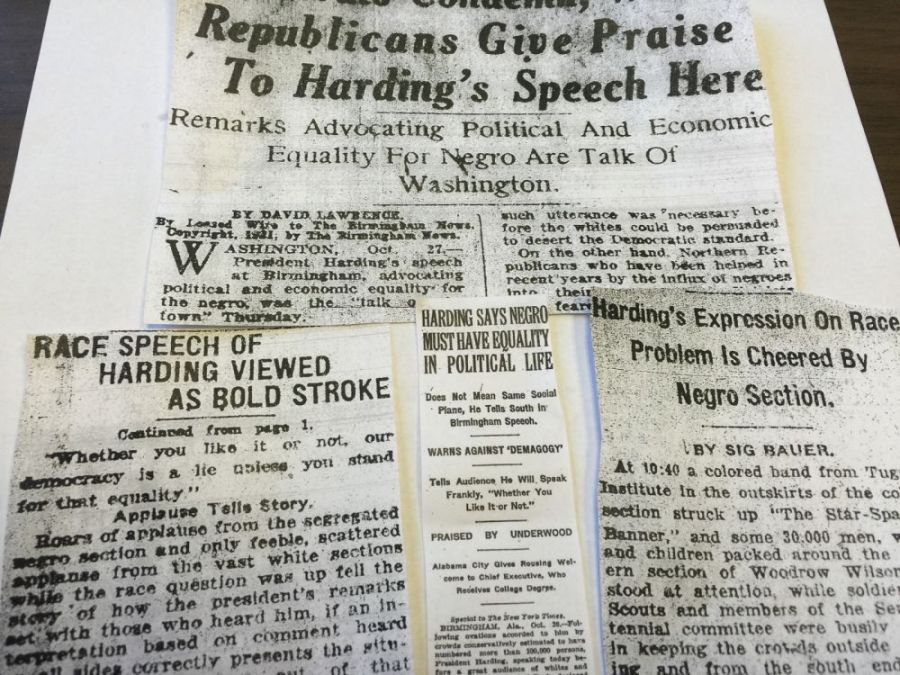 Newspapers document reaction to President Harding's speech.