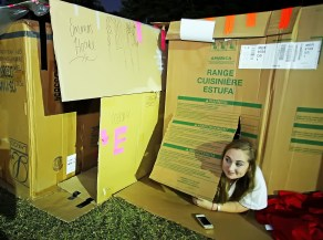 Savana Whittington, 15, of Mobile with Forest Hill United Methodist Church, participates in Cardboard City at Alabama School of Mathematics and Science in Mobile. (Mike Kittrell/Alabama NewsCenter)