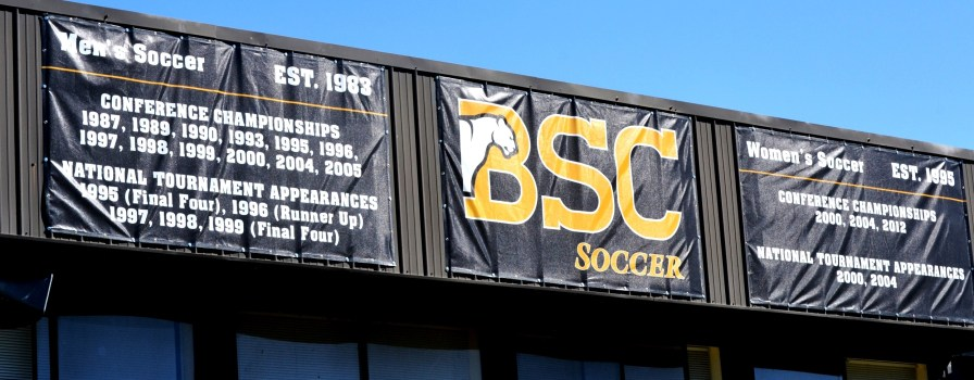 The sign over the press box is a testament to Preston Goldfarb's success as the men's soccer coach at Birmingham-Southern College for 33 years. (Solomon Crenshaw Jr./Alabama NewsCenter)