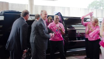 Breast cancer survivors arrive by limousine to celebrate the winning video. (contributed)