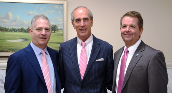 Celebrating Infirmary Health's win were, from left, Medline Industries President Andy Mills, Mobile Mayor Sandy Stimpson, and Infirmary Health President and CEO Mark Nix. (contributed)