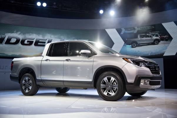 The 2017 Honda Motor Co. Ridgeline pick up truck sits on display after being debuted at the 2016 North American International Auto Show. (Daniel Acker/Bloomberg)