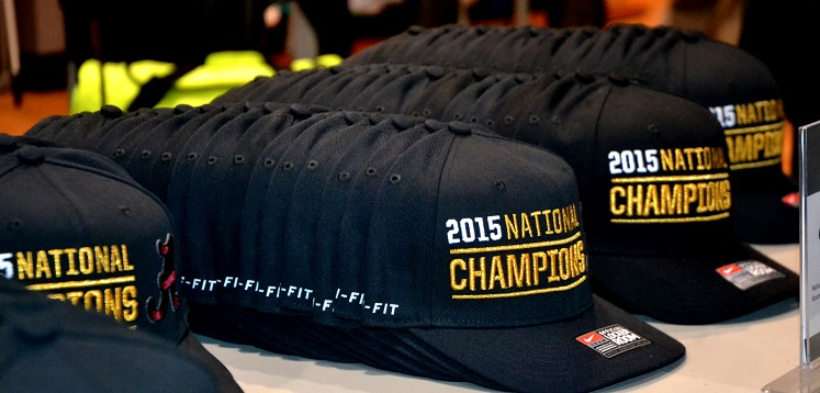 Championship caps on display at Dick's. (Solomon Crenshaw Jr./Alabama NewsCenter)