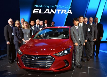 Alabama officials joined Hyundai leaders at the unveiling of the redesigned Elantra at the Los Angeles Auto Show in November. (contributed)
