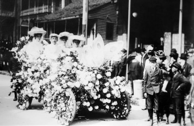 A scene from the 1905 Floral Parade is displayed at the Mobile Carnival Museum. (University of South Alabama Archives)