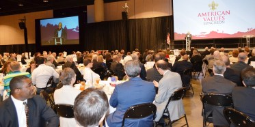 "Shaun Alexander delivers the keynote address at the Boy Scouts of America Greater Birmingham Council's ""American Values Luncheon."" (Michael Tomberlin/Alabama NewsCenter)"
