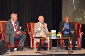 Alabama Crimson Tide legends, from left, former head coach Gene Stallings, former player and broadcaster Jerry Duncan and former running back Shaun Alexander chat about football and life. (Michael Tomberlin/Alabama NewsCenter)