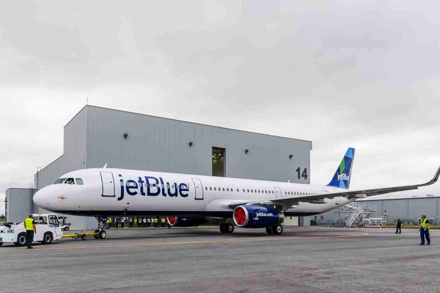 Airbus A321 painted for JetBlue emerges from the paint shop in Mobile. (contributed)