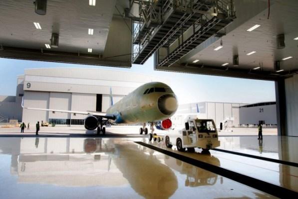 Airbus 321 enters the paintshop for its JetBlue paint job. (contributed)