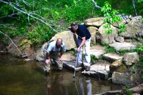 The Southern Environmental Center crew films the rare vermilion darter at Turkey Creek Nature Preserve. (Karim Shamsi-Basha)