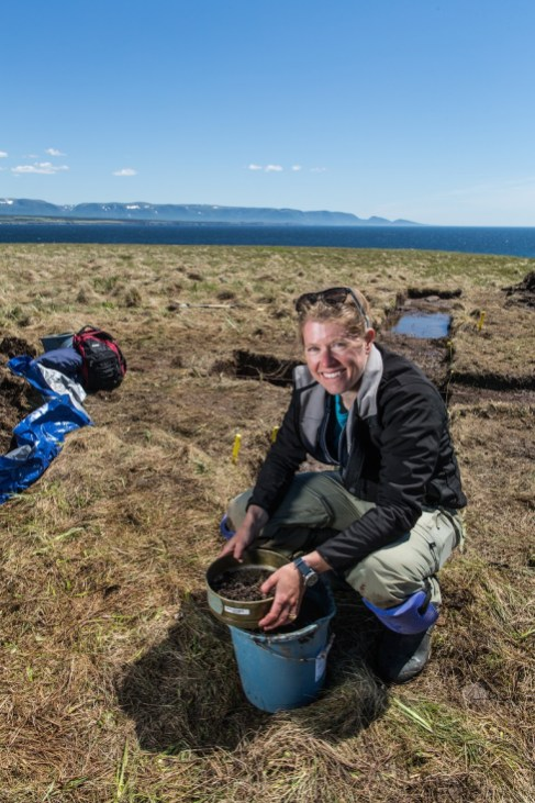 Dr. Sarah Parcak on site in Point Rosee, Newfoundland. (Freddie Claire/BBC)