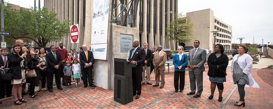Birmingham Mayor William Bell speaks at the dedication of the Rotary Trail sign. (Christopher Jones/Alabama NewsCenter)