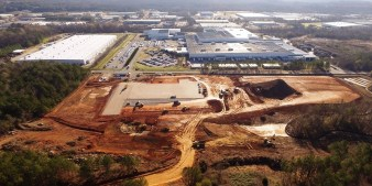 An Aerial shows the early days of the $80 million casting plant construction across from the current Kamtek plant. (contributed)