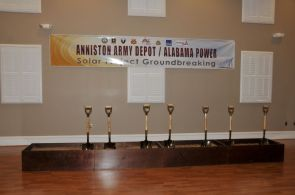 Shovels are in place at the solar facility groundbreaking. (Billy Brown/Alabama NewsCenter)