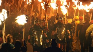 Viking re-enactors taking part in the annual Up Helly Aa festivities in Lerwick, Shetland. (BBC)