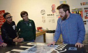 Brandon Watkins teaches screen printing at MAKEbhm. (Colin Nekritz/Alabama NewsCenter)