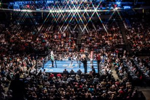 Deontay Wilder (white trunks) defeated Chris Arreloa (black trunks) after eight rounds with a technical knockout. The fight was nationally televised and drew thousands to the BJCC. (Nik Layman/Alabama NewsCenter)