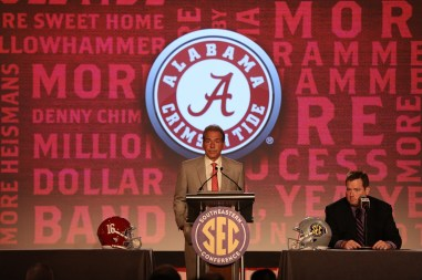 Alabama head coach Nick Saban talks to reporters at SEC Media Days. (Kent Gidley/UA Athletics)