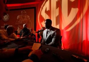Alabama defensive lineman Jonathan Allen talks to reporters at SEC Media Days. (Robert Sutton/UA Athletics)