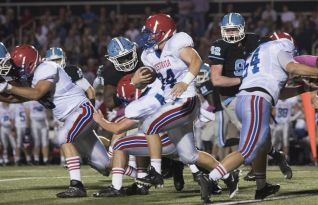 Vestavia High player holds onto football. (contributed)