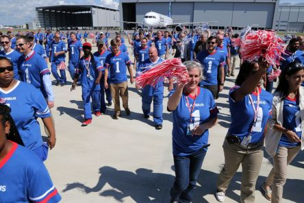 Employees celebrate during the delivery ceremony April 25 for JetBlue A321 Ð, the first Airbus aircraft produced at Airbus U.S. Manufacturing Facility in Mobile. (Mike Kittrell/Alabama NewsCenter)