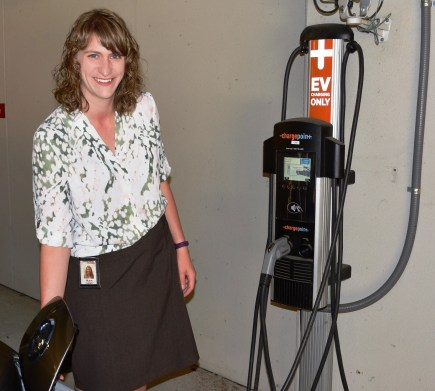 Blair Farley can use a 'chargepoint' setup at her parking garage at Alabama Power if she ever needs a boost during the daytime. Normally, she charges her Nissan Leaf at home after 9 p.m. to take advantage of an electricity bill discount. (contributed)