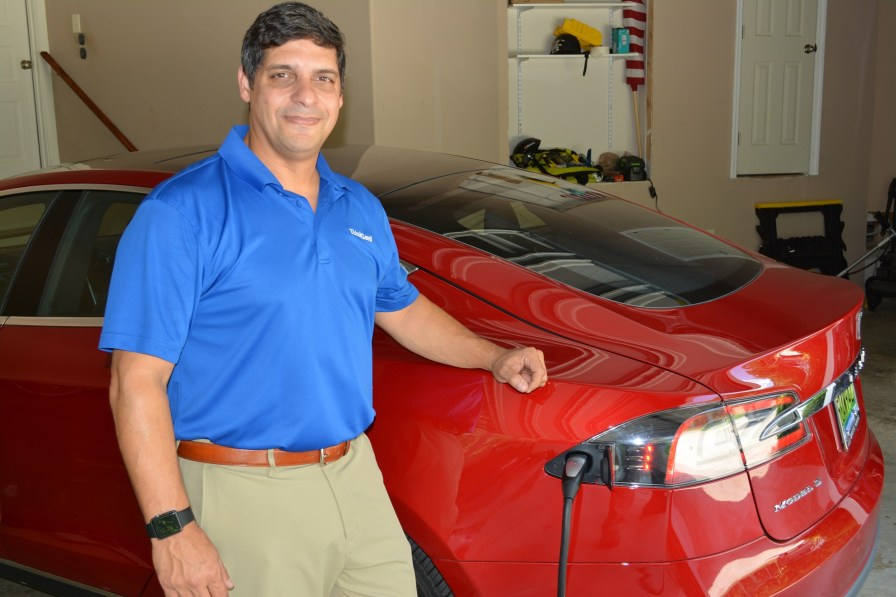 Paul Franks charges his Tesla Model S 70D in his garage, using a 220 outlet. (contributed)