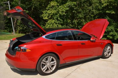 Paul Franks' Tesla Model S 70D has 'trunk' space in both the front and rear of the vehicle as the two electric motors are located underneath the vehicle at the axles. (contributed)
