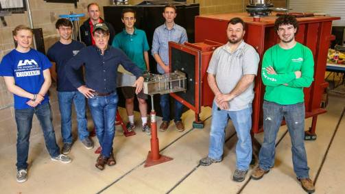 The UAH wind tunnel team during the tunnel's construction. (Image: Michael Mercier/UAH)