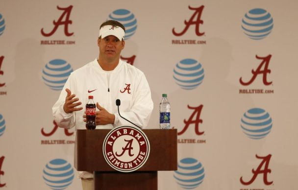 Offensive coordinator Lane Kiffin talks to the media after Fan Day. (Kent Gidley / UA Athletics)