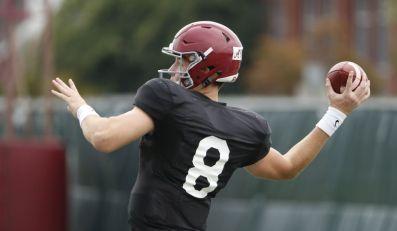 Alabama quarterback Blake Barnett practices Monday. (Robert Sutton / UA Athletics)