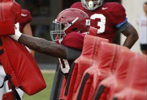 Alabama defensive lineman Jamar King at Monday's practice. (Robert Sutton / UA Athletics)