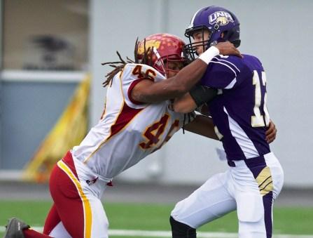 Tuskegee defensive end Darion Hall sacks North Alabama quarterback Luke Wingo. (Tuskegee Athletics)