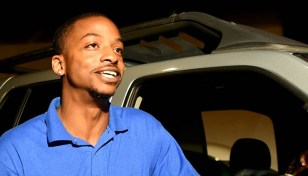 Barry Jefferson talks about winning the surprise second car, a 2003 Dodge Durango, from the Willie J. Foundation Wheels of Change. (Solomon Crenshaw Jr. / Alabama NewsCenter)