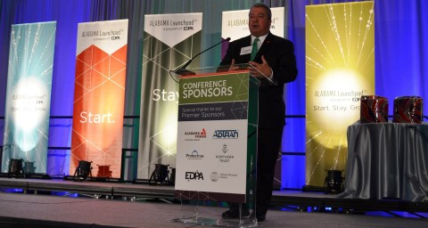 Alabama Commerce Secretary Greg Canfield speaks at the Alabama Innovation Awards. (Michael Tomberlin / Alabama NewsCenter)