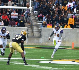 The kicking of sophomore Nick Christiansen (36) is one of the Golden Bears' strong points, Coach Reginald Ruffin says. (Miles College Football)