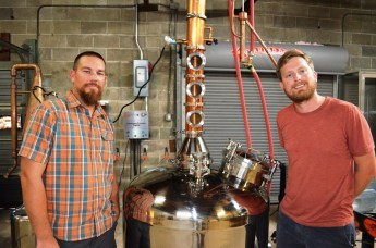 Jake Hendon, left, and Stephen Watts founded Redmont Distilling with partner Jake Hendon (not pictured). (Michael Tomberlin / Alabama NewsCenter)
