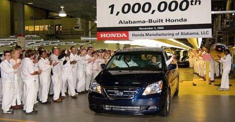 Honda's 1 millionth Alabama-made vehicle was completed Nov. 3, 2006. (Honda)