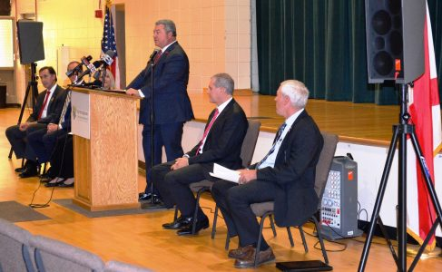 Alabama Commerce Secretary Greg Canfield speaks at Mercedes-Benz supplier MöllerTech's announcement of a $46.3 million plant and 222 jobs in a new industrial park near Woodstock in Bibb County. (Michael Tombelrin / Alabama NewsCenter)