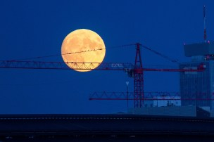 Construction cranes stand as the moon rises over Berlin, Germany, on Sunday, (Krisztian Bocsi/Bloomberg)