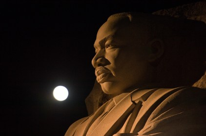 The moon, or supermoon, is seen as it sets over the Martin Luther King Jr. Memorial in Washington, D.C. (Aubrey Gemignani/NASA)