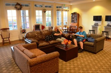 Teresa Welch hangs out in the living room at Ronald McDonald House with her son Nicholas, who is waiting on a heart transplant. (Karim Shamsi-Basha/Alabama NewsCenter)