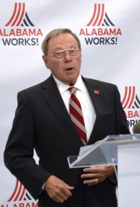 George Clark, president of Manufacture Alabama and vice chairman of the Alabama Workforce Council, speaks at the unveiling of AlabamaWorks. (Michael Tomberlin / Alabama NewsCenter)