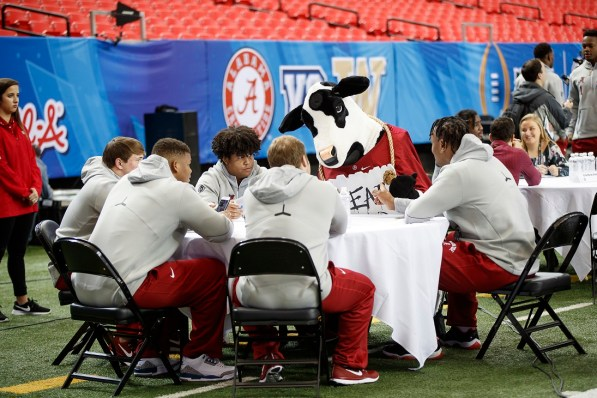 The Alabama Crimson Tide talk with the media during Peach Bowl Media Day on Thursday, December 29, 2016 in Atlanta. Alabama faces the Washington Huskies in the 2016 Chick-fil-A Peach Bowl Playoff Semifinal on New Year's Eve, with the winner advancing to the National Championship. (Paul Abell / Abell Images for the Chick-fil-A Peach Bowl)
