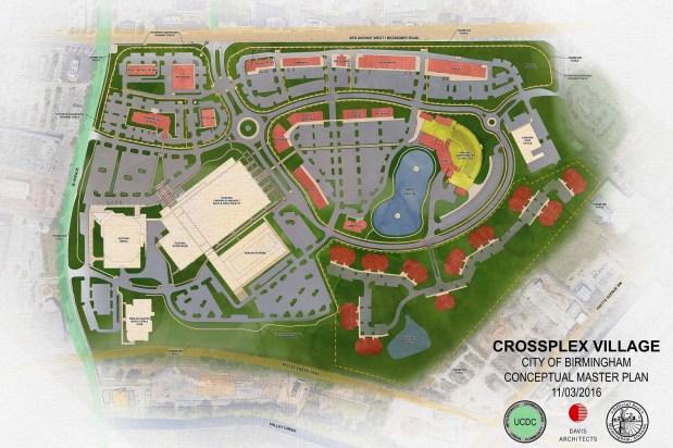 CrossPlex Village will add retail, restaurants, an amphitheater and a Comfort Inn to the CrossPlex sports complex. (Davis Architects)