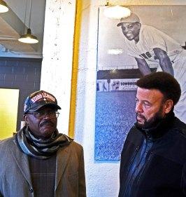 Chef Clayton Sherrod, left, with Artie Wilson Jr. at Rickwood Field. (Solomon Crenshaw Jr. / Alabama NewsCenter)